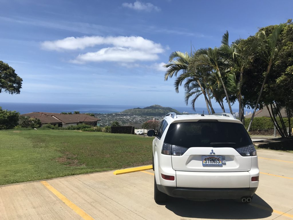 Diamond Head View from Waialae Iki 5 Tennis Courts - Albert Murata's car w/ Strings on the license plate