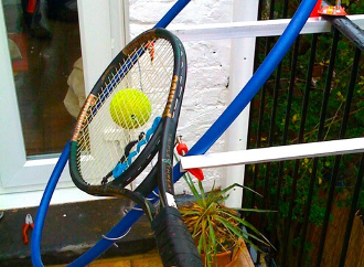TopspinPro — Innovative Groundstroke Tennis Training Aids - Prototype made with hula hoop