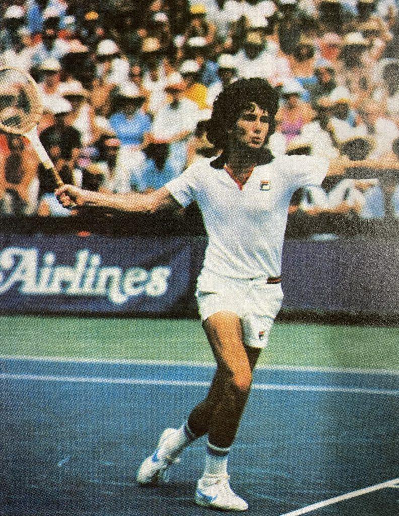 Bill Scanlon on court Bill Scanlon on court at the Island Holidays Pro Tennis Classic