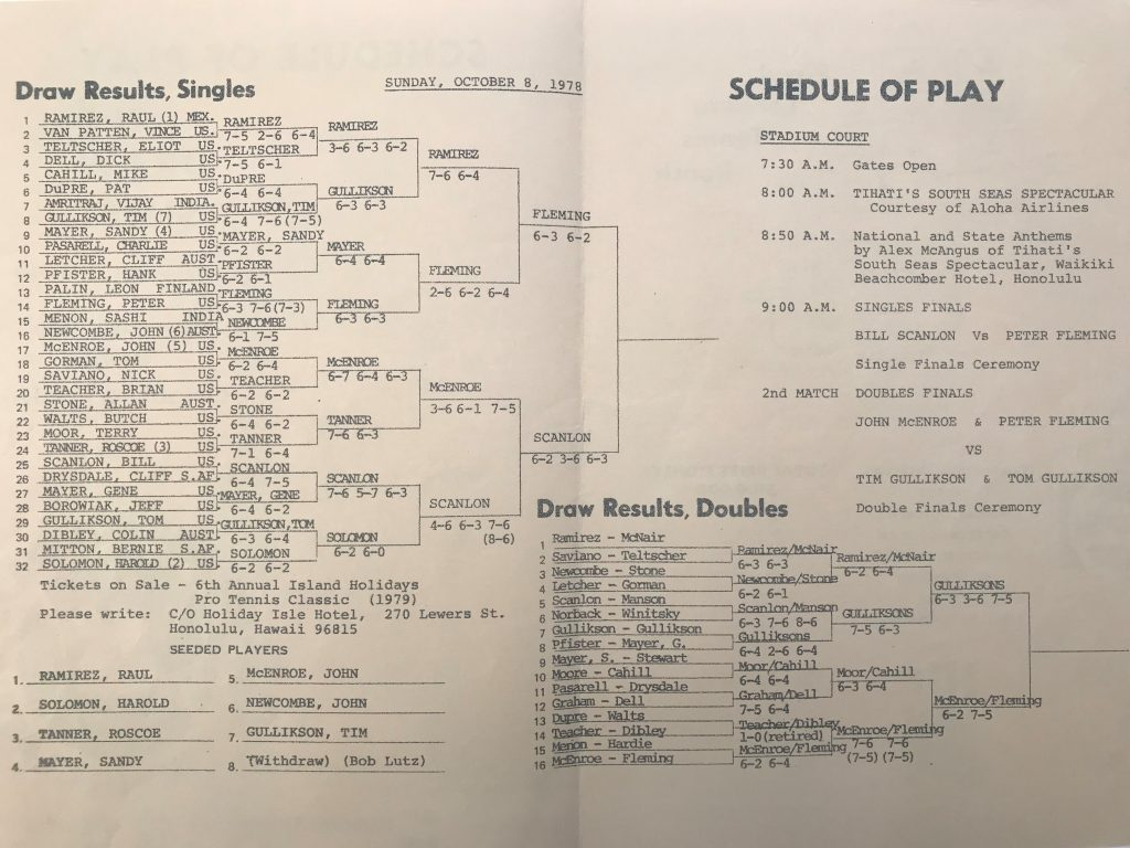 Sunday, October 8, 1978 Schedule of Play & Draw Sheet for Island Holidays Pro Tennis Classic Tournament