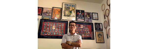 Hawaii Tennis Memorabilia History Video photo of Albert Murata in his tennis shop
