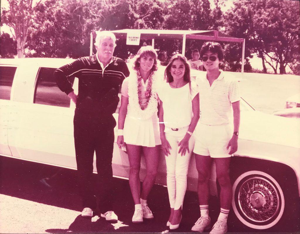 Kate Latham's Coach, Kate Latham, Nora Gentry, and Albert Murata — USTA Women's Circuit of Hawaii — 1985 Tournament