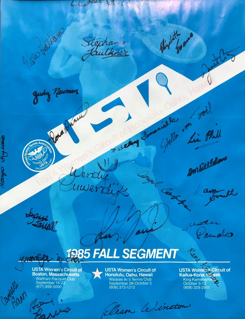 USTA Women's Circuit of Hawaii — 1985 Tournament Poster with Player Signatures